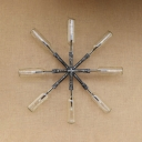 Industrial Vintage Wall Sconce with Star Shape Pipe Fixture Body, Clear Glass Bottle Shade