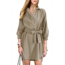 New Arrival Chic Elegant Simple Plain Lapel Collar Long Sleeve Midi Shirt Dress