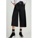 Casual Leisure Classic Striped Printed Belt Waist Loose Wide Legs Pants