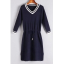 Color Block V Neck Long Sleeve Fashion Drawstring Waist Midi Sweater Dress