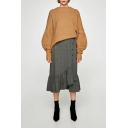 New Arrival Fashion Asymmetrical Ruffle Hem Buttons Down Midi Plain Skirt