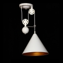 Industrial Extendable Pendant Light with White Cone Shade