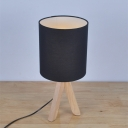 Industrial Table Light with Three Base Legs in Wood, Black Cylinder Shade