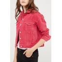 Simple Plain Lapel Collar Long Sleeve Buttons Down Cropped Denim Jacket