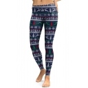 Elastic Waist Sports Casual Skinny Fashion Snowflake Pattern Leggings