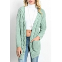 Open Front Drop Shoulder Twist Hem Long Sleeve Cardigan