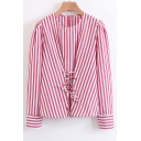 Classic Striped Printed Round Neck Long Sleeve Lace-Up Gathered Waist Blouse