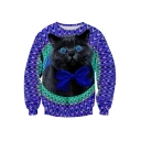 Digital Bow Tied Cat Printed Long Sleeve Round Neck Pullover Sweatshirt