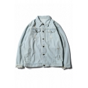 Fashion Retro Ripped Out Blood Pattern Back Long Sleeve Buttons Down Denim Jacket