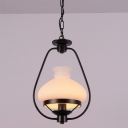 Industrial Hanging Pendant Light Modern Style with White Glass Shade