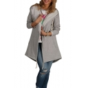 Hot Popular Simple Plain Hooded Long Sleeve Fashion Asymmetrical Hem Coat