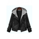Contrast Hooded Long Sleeve Zip Up Basic Fashion PU Biker Jacket