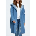 Casual Leisure Simple Plain Hooded Long Sleeve Buttons Down Long Denim Coat