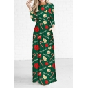 Chic Cartoon Christmas Theme Pattern Long Sleeve Round Neck Maxi Dress