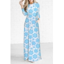 Chic Christmas Theme Snowflake Pattern Round Neck Long Sleeve Maxi Dress