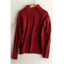 Fashion Mock Neck Long Sleeve Basic Simple Plain Pullover Sweater