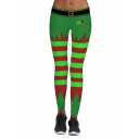 Fashion Green Christmas Striped Printed Skinny Sports Yoga Leggings