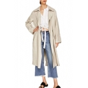 Basic Simple Plain Notched Lapel Collar Long Sleeve Leisure Trench Coat