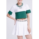 Fashion Color Block Round Neck Short Sleeve Cropped Tee with Mini Pleated Skirt