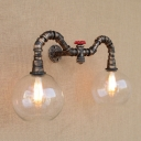 Industrial Wall Sconce LOFT Pipe Valve Decoration with 8 Inch Wide Clear Globe Glass Shade