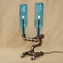 Industrial Desk Lamp with 2 Light Loft Pipe Style Creative Blue Glass Shade