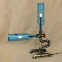 Industrial Table Lamp with 2 Light G4 Led Pipe Style Fixture Body, Blue Bottle Glass Shade