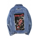 Street Style Ripped Out Fashion Print Back Lapel Collar Buttons Down Denim Jacket