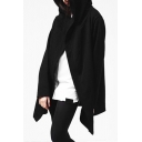Basic Simple Plain Long Sleeve Hooded Loose Leisure Street Style Cape Coat
