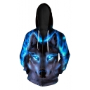 Fashion Digital Wolf Pattern Casual Oversize Sports Long Sleeve Zip Up Hoodie