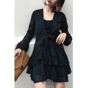New Trendy Plunge Neck Long Sleeve Fashion Layered Mini A-Line Dress