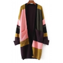 New Collection Fashion Color Block Open Front Long Sleeve Cardigan with Pockets