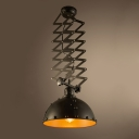Industrial Extendable Indoor Pendant Light in Black Bowl Shape