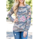 Hollow Out Long Sleeve Round Neck Camouflage Floral Printed Pullover Sweatshirt