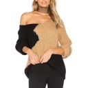 Color Block Panel V Neck Long Sleeve Pullover Sweater