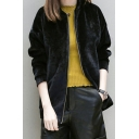 Round Neck Zip Up Long Sleeve Velvet Coat