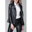 Notch Lapel Faux Leather Zip Up Long Sleeve Skinny Biker Jacket