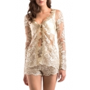 Fashion Sexy Sheer Lace Inserted Chic Embroidered Long Sleeve Top with Shorts