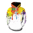 Fashion Color Block Splash-Ink Pattern Casual Leisure Loose Hoodie