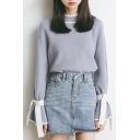 Simple Basic Color Block Round Neck Long Sleeve Pullover Sweater