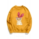 Lovely Cartoon Bow Cat Pattern Round Neck Long Sleeve Sweatshirt for Couple