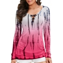 Hot Fashion Tie Dye Color Block Lace-Up V Neck Long Sleeve Pullover T-Shirt