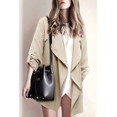 New Arrival Fashion Simple Plain Waterfall Collarless Long Sleeve Trench Coat