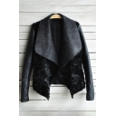 Hot Fashion Lapel Collar Long Sleeve Chic PU Casual Jacket