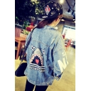 Cartoon Shark Letter Pattern Back Lapel Collar Single Breasted Denim Jacket