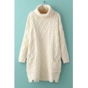 Diamond Pattern Turtle Neck Long Sleeve Simple Plain Tunic Sweater with Pockets