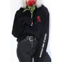 Chic Floral Embroidered Letter Pattern Long Sleeve Loose Leisure Hoodie
