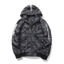 Chic Color Block Camouflage Pattern Hooded Long Sleeve Zip Up Unisex Coat