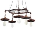 Vintage Multi Light Pendant 5 Light with Gear, Rust