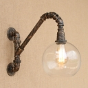 Industrial Retro Wall Sconce LOFT Pipe Fixture with Fabulous Globe Clear Glass Lampshade