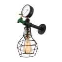 Industrial Wall Sconce E27 LED Lighting LOFT Tap Pipe Style with Metal Cage Frame